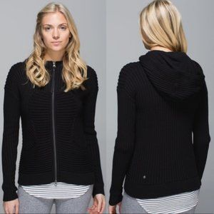 Lululemon Embrace Zipper Knit Hoodie Size 4 Black